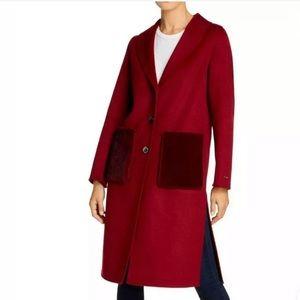Tahari Shawl Collar Faux Mink Pocket Wool Coat Red